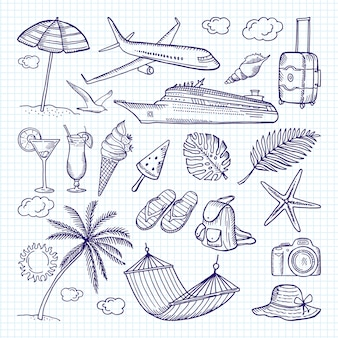 Éléments dessinés à la main de l'été. soleil, parapluie, sac à dos et autres symboles de vacances amusantes.