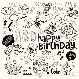 Éléments dessinés à la main de fête d'anniversaire de doodle