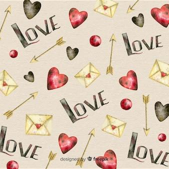 éléments dessinés à la main fond saint valentin