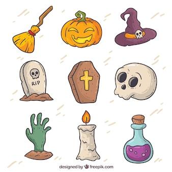 Éléments dessinés à la main d'halloween