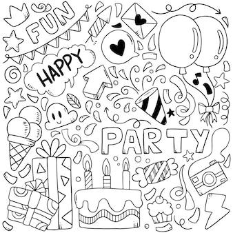 Éléments dessinés à la main parti doodles