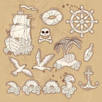 Éléments dessinés à la main pour une carte vintage