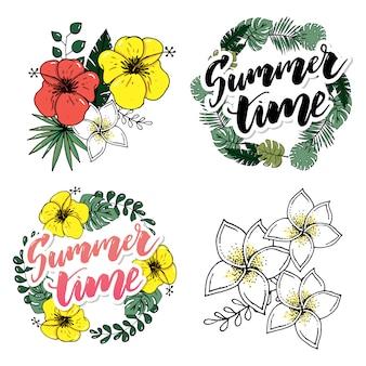 Éléments dessinés à la main rétro pour dessins calligraphiques de l'été
