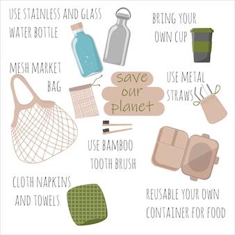 Éléments dessinés à la main sans plastique, concept zéro déchet, mode de vie écologique, thème vert