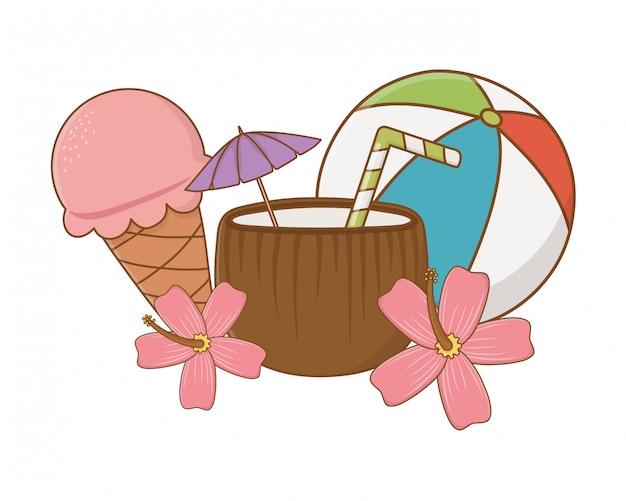 Éléments de dessins animés d'été et de plage
