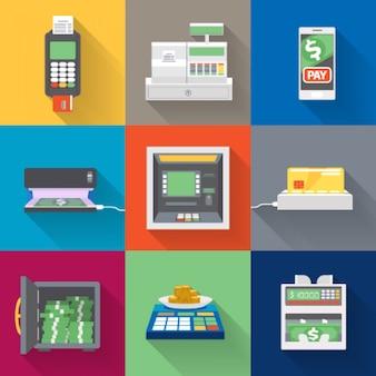 Éléments de distributeurs automatiques de billets dans un style plat.