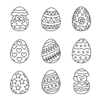 Éléments de doodle aux oeufs de pâques style kawaii