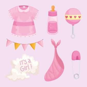 Éléments de douche de bébé fille