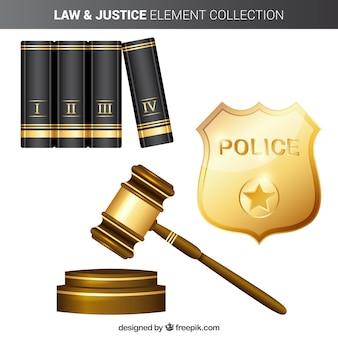 Éléments de droit et de justice avec un style réaliste