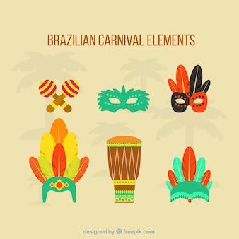 Éléments du carnaval brésilien dans un style plat