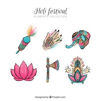 Éléments du festival de holi aquarelle
