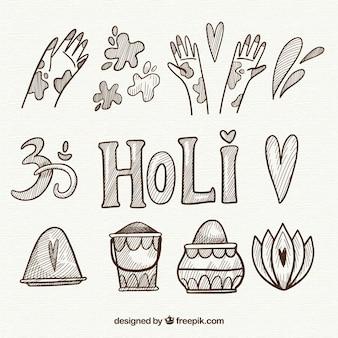 Éléments du festival holi dessinés à la main