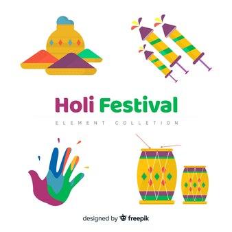 Éléments du festival de holi plat