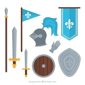 Les éléments du guerrier médiéval avec un design plat