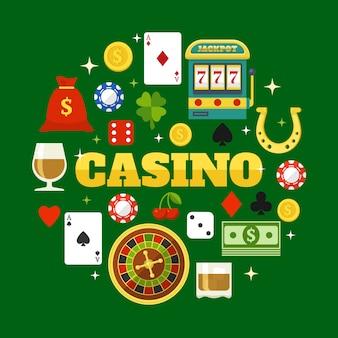 Éléments du jeu d'éléments plats de casino