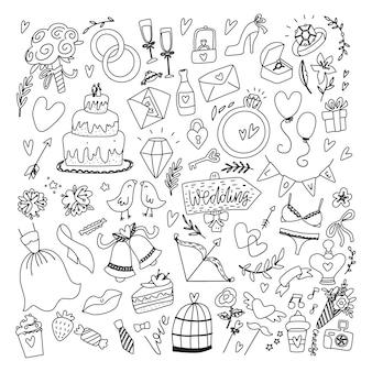 Éléments du jour du mariage. doodle dessiné main serti de fleurs, robe de mariée, chaussures, verres pour champagne et attributs festifs. collection juste mariée