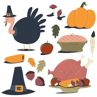 Éléments du jour de thanksgiving sur un fond blanc.