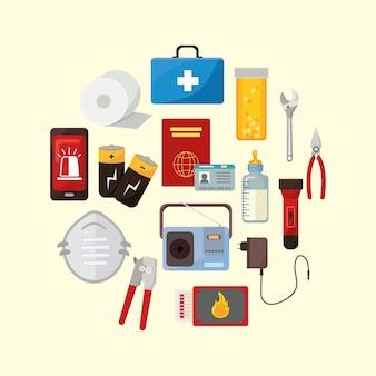 Éléments du kit d'urgence autour