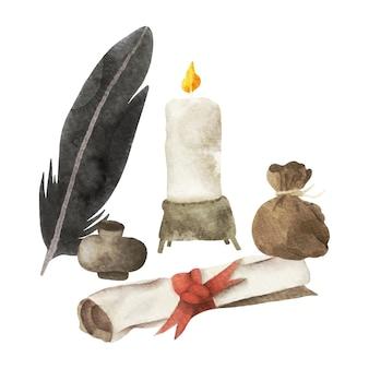 Éléments d'écrivains anciens à l'aquarelle avec rouleau d'encre de plume et bougie