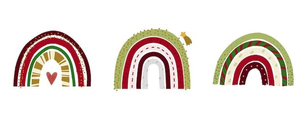 Éléments enfantins de noël dessinés à la main collection d'illustrations vectorielles plates arcs-en-ciel festifs