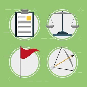 Éléments d'entreprise, balance, drapeau, flèche, style plat