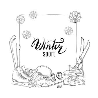 Éléments d'équipement de sports d'hiver dessinés à la main s'empilent sous le cadre