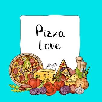 Les éléments esquissés de pizza italienne s'empilent sous le cadre avec la place pour le texte