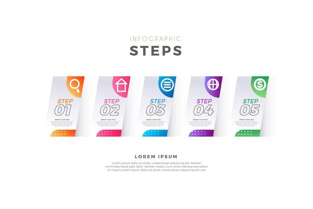 Éléments d'étapes d'infographie
