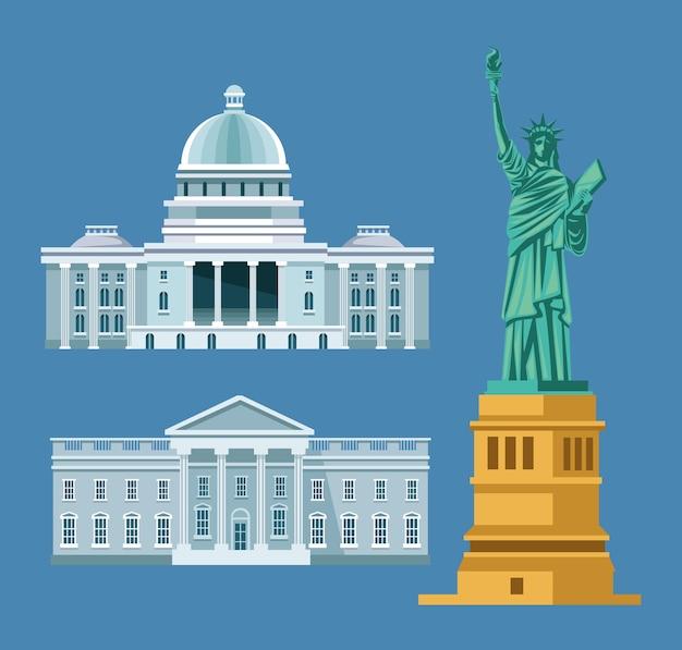 Éléments des états-unis avec statue de la liberté et maison blanche