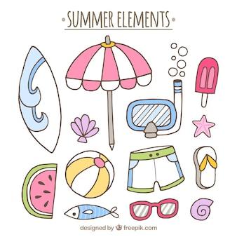 Des éléments d'été fantastiques en style dessiné à la main
