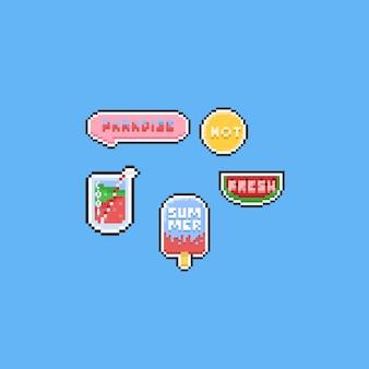 Éléments d'été pixel avec texte. 8 bits.