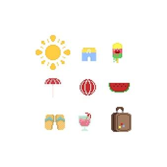 Éléments d'été de pixel