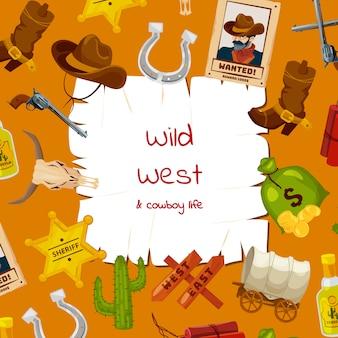 Éléments de far west de dessin animé avec place pour l'illustration de texte