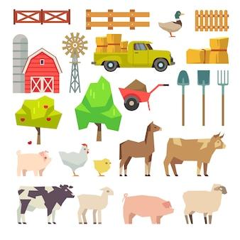 Éléments de ferme de dessin animé, animaux et outils, arbres et machines agricoles. moulin à fruits et à vent, ferme