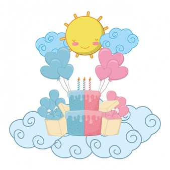Éléments de fête d'anniversaire bébé vector illustration