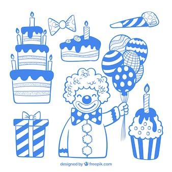 Éléments de fête d'anniversaire dessinés à la main bleu