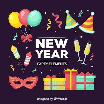 Éléments de fête colorés du nouvel an
