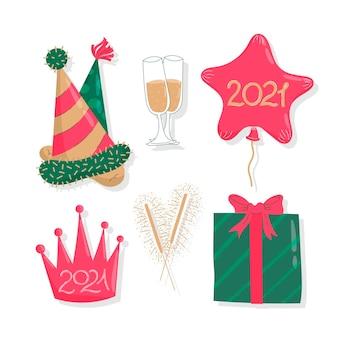 Éléments de fête de nouvel an design plat