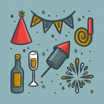 Éléments de fête de nouvel an mignon