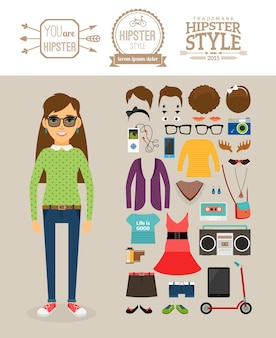 Éléments de fille hipster. vêtements, coiffures et logos hipster.