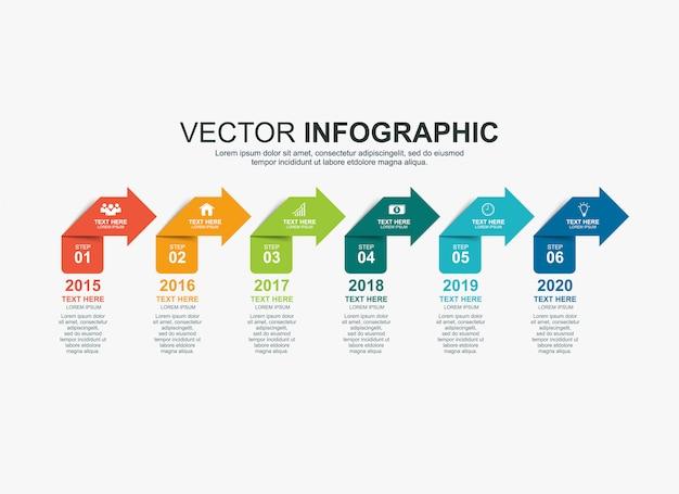 Éléments de flèche modèle de graphique de processus de chronologie infographique