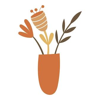 Éléments floraux abstraits dans un vase. illustration vectorielle.