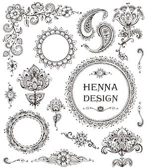 Éléments floraux au henné basés sur des ornements traditionnels asiatiques.