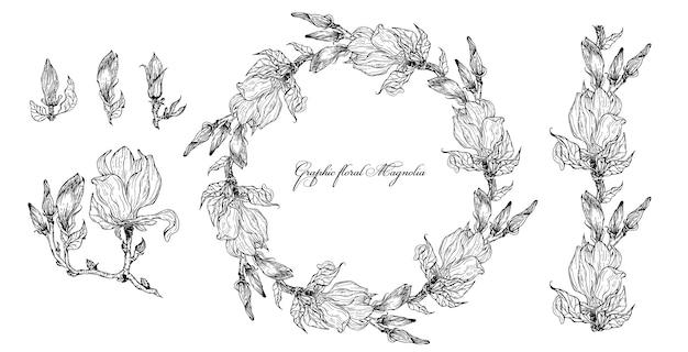 Éléments floraux brillants de magnolia pour la conception