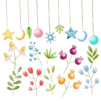 Éléments floraux et décorations aquarelles peintes à la main