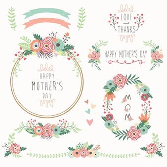 Éléments floraux de la fête des mères