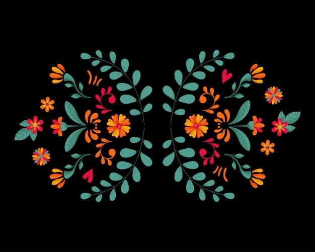 Éléments floraux sur fond sombre