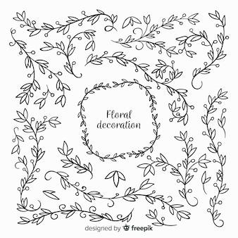 Éléments floraux incolores dessinés à la main