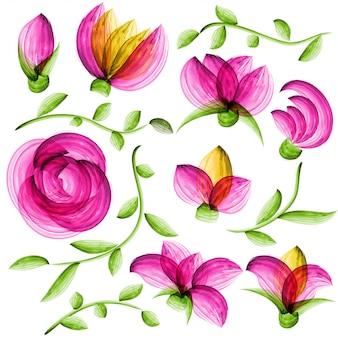 Éléments floraux de vecteur aquarelle