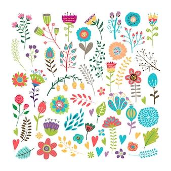 Éléments floraux vintage dessinés à la main de vecteur